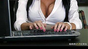 blondies, boss and secretary, brunette girls, finger fucking, hardcore screwing, office porno, orgasm on cam, rough screwing